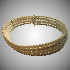Old White Glass Beads Dog Collar Choker Necklace