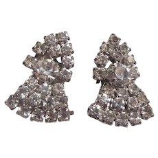 Sparkly Rhinestone Clip Earrings