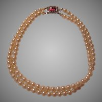Double Strand Simulated Pearls Necklace Fancy Red Rhinestone Clasp