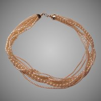7 Strand Simulated Pearls Long Necklace