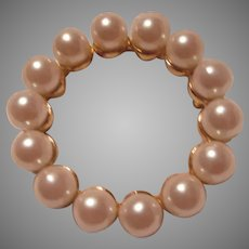 Circle Pin With Large Simulated Pearls