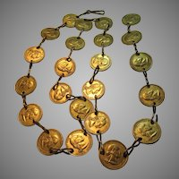 Gold Tone Coins Long Necklace Or Belt