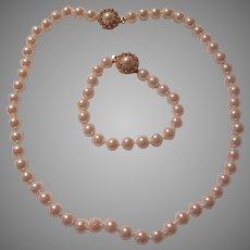 Lustrous Faux Pearls Necklace Bracelet Pearl Set Fancy Clasps
