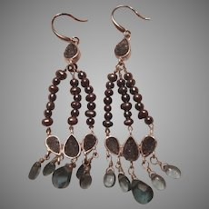 Silver and Blue Stones Pierced Wires Earrings