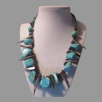 Native American Necklace Turquoise Color Rocks   Abalone Horns