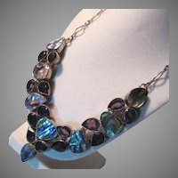 Sterling Silver Amethyst Abalone Necklace