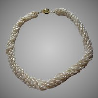 Cultured Rice Pearls Braided Necklace Vintage Fine Jewelry