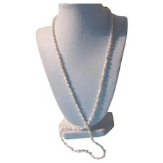 White Rice Real Pearls Long Necklace