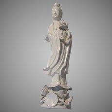 Blanc De Chine Kwan Quan Yin Bodhisattva Statue Figurine