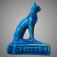 Egyptian Style Blue Cat Figurine