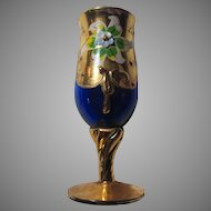 Cobalt Blue Glass Cordial Tiny Goblet Gold Decorations