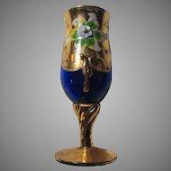 Cobalt Blue Glass Cordial Tiny Goblet Gold Decorations