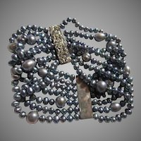Blue Cultured Freshwater Pearls Bracelet