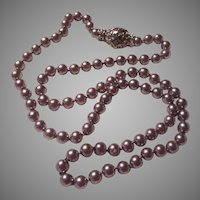 Silver Simulated Pearls Necklace Fancy Clasp