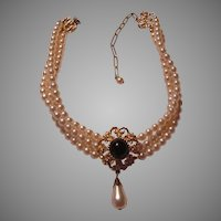 Triple Strand Costume Pearls Collar Necklace With Black Gold Pendant Center