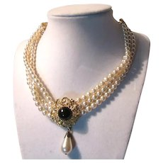 White Costume Pearls Double Strand Necklace Black Center