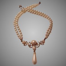 Large Faux Pearls Double Strand Necklace with Fancy Center