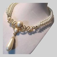 White Costume Pearls Necklace Fancy Centerpiece Drop