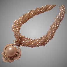 Braided Strands Faux Pearls Necklace With Enamel Rhinestone Enhancer