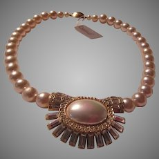 Elegant Simulated Pearls Choker With Fancy Center