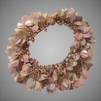 Unbelievable Collar Necklace Faux Pearls Pailettes Chains