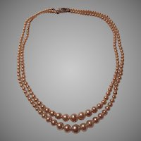 Double Strand Graduated Faux Pearls Necklace