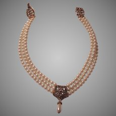Triple Strand Costume Pearls Choker Collar Necklace Fancy  Center