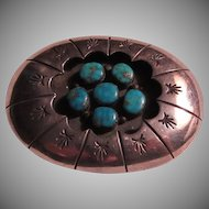 Native American Silver Turquoise Buckle