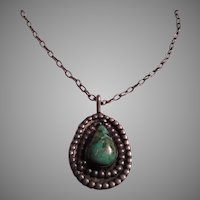 Native American Signed Sterling Silver Turquoise Pendant Necklace