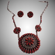 Native American Zuni Signed Coral & Silver Needlepoint Necklace Earring Set