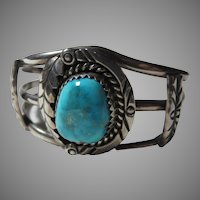 Native American Bracelet Silver Turquoise Old Pawn