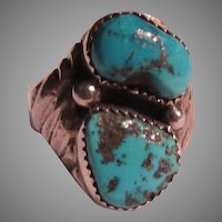 Signed Large Native American Ring Sterling Silver Turquoise Size 12