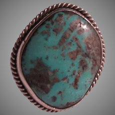 Large Native American Ring Silver Turquoise