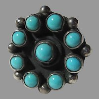 Native American Ring Fine Turquoise Sterling Silver Sz 5