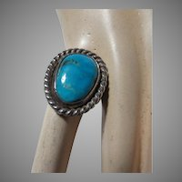 Native American Ring Fine Turquoise Sterling Silver Sz 6