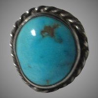 Native American Ring Fine Turquoise Sterling Silver Sz 4.25