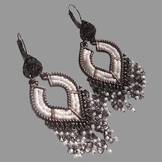 Lovely Metal & Seed Bead Chandelier Earrings