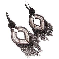Lovely Metal & Seed Bead Chandelier Earrings