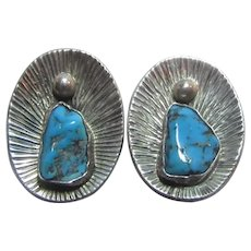 Native American Clip Earrings Sterling Silver Turquoise Signed