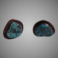 Native American Silver Turquoise Cuff Links