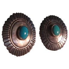 Tommy Singer Native American Sterling Silver Turquoise Pierced Earrings