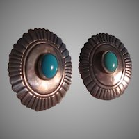 Tommyb Singer Native American Sterling Silver Turquoise Pierced Earrings