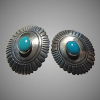 Tommy Singer Native American Sterling Silver Turquoise Earrings