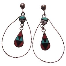 Signed Zuni Native American Clip Earrings  Inlay