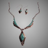 Native American Zuni Channel Inlay Turquoise & Silver Necklace & Earrings