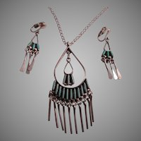 Native American Zuni Turquoise Pettipoint Necklace Earring Set