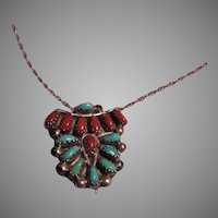Native American Zuni Sterling Turquoise Coral Pin Pendant