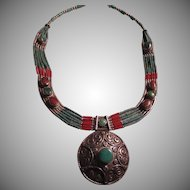 Tibetan Necklace Sterling Silver Turquoise Red