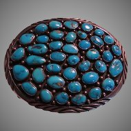 Large Native American Turquoise & Silver Signed Navajo Buckle