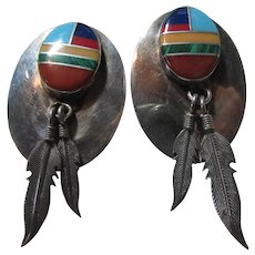 Native American Clip Earrings Sterling Channel Inlay With Silver Feathers